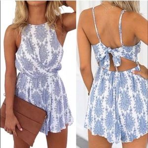 Nordstrom White and Blue Paisley Romper
